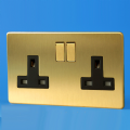 Varilight 2 Gang 13 Amp Switched Plug Socket Screwless Brushed Brass Dec Switch Black Insert XDB5BS